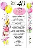 Heute Sie 40, 1977War Ein sehr besonderes Jahr–NEUE 2017besonderes Jahr Geburtstag Karten (Pink)