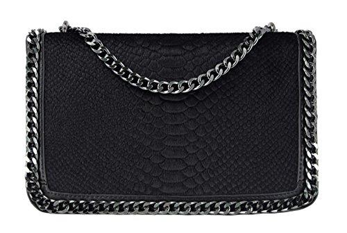 CRAZYCHIC - Damen Umhängetasche - Tasche mit Python gesteppte Klappe - Schlange Steppmuster Leder imitat - Schwarz Kette Schulterriemen - Schultertasche Clutch - Henkeltasche Handtasche - Kunst Pelz (Taschen Gesteppte Handtaschen)