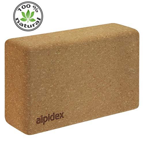 ALPIDEX Yogablock aus Kork 23 x 14 x 7,5 cm einzeln und im 2er Set Korkblock Fitnessblock Yogaklotz