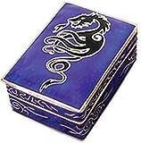 Dose, Pillendose mit Drache Motiv BLAU Lila Emaille Metall,mit Deckel, 45 x 30mm