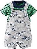 Carters's Kurze Latzhose + T-Shirt Sommer Set Baby Junge Shorts Dinosaurier Outfit Boy (0-24 Monate) (6 Monate, grau/grün)