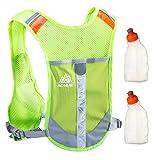 Geila Outdoors Sport Marathoner Race Pack de hidratación Mochila de hidratación con 2 botellas de agua para Trailrunning, Marathon (fruta verde)