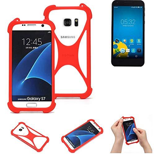 K-S-Trade® Handyhülle Für Vestel 5000 Dual-SIM Schutzhülle Bumper Silikon Schutz Hülle Cover Case Silikoncase Silikonbumper TPU Softcase Smartphone, Rot (1x)