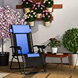 Forzza Krabi Folding Outdoor Recliner Chair (Blue and Black)