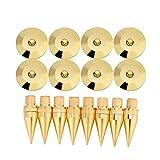 Luidsprekerpieken, 8 paar 6 x 36 mm koperen luidsprekerisolatiepad Gouden luidspreker Spike-voeten voor luidspreker, versterker, cd-dvd-speler, platenspeler