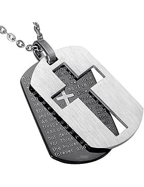 ALEXTINA Herren Edelstahl Bibel Vers Das Gebet des Herrn Kreuz Halskette Hundemarke Anhänger mit Frei Kette