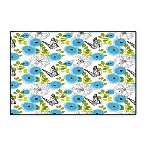 Fußmatte mit Buchstaben, klein, Alphabet mit bunten Gerbera-Blumen auf Buchstaben, frischer Garten, Badematte für Badezimmer, 40,6 x 61 cm, Mehrfarbig 16x24 inch (40cm x 60cm) Color18 -