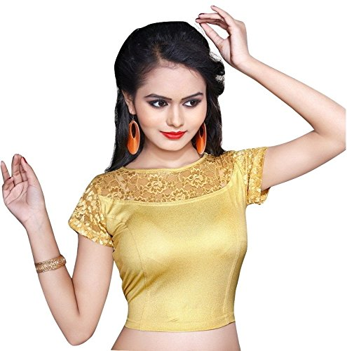 Pdezaart Women's Golden Streatchable Designer Shimmer Stitched Readymade Blouse