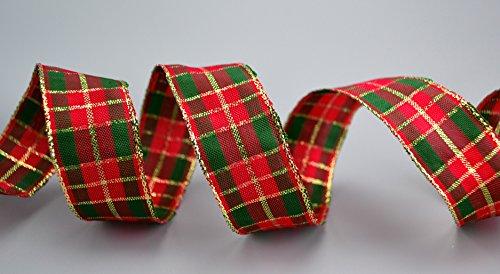 2 m x 25 mm Weihnachten KARO ROT/ DUNKELGRÜN / GOLD Drahtkantenband Dekoband Geschenkband Schottenkaro doppelseitig Glanzband mit Lurex Goldkante Draht Schleifenband von FINEMARK