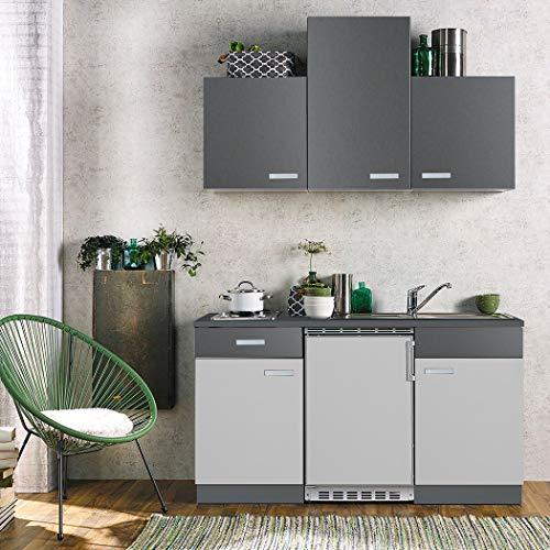 expendio Küchenblock Grace 150 cm mit E-Geräten komplett hellgrau Graphit Küchenzeile Singleküche Einbauküche Komplett-Küche