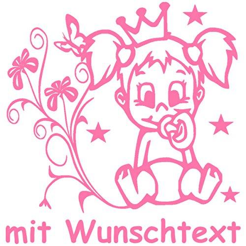 Hoffis Premium Babyaufkleber mit Name/Wunschtext Baby Kinder Autoaufkleber - Motiv 1307 (16 cm) - Farbe und Schriftart wählbar