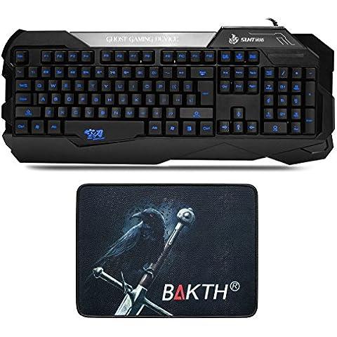 BAKTH Gaming Teclado LED azul luminiscente Caracteres con retroiluminación (interfaz USB, Teclado de EE.UU. QWERTY Inglés,Ergonómico Diseño) para Juegos PC Windows o Mac OS Negro - [Alfombrilla de Ratón hermoso como
