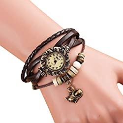 Vovotrade cuarzo tejido alrededor de cuero gato brazalete muñeca reloj de pulsera para mujer señora (marrón)