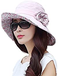 b741651c5d409 Siggi Ladies Bucket Summer Sun Hat Foldable Wide Brim Packable for Women  w Chin Strap
