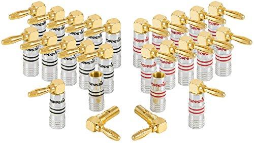 Poppstar 24x Bananenstecker gewinkelt, Bananas für Lautsprecherkabel (bis 6 mm²), AV Receiver, 24k vergoldet (12x schwarz, 12x rot)