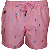 Shorts De Bain Nikben Popsicle Hommes, Rose Tendre