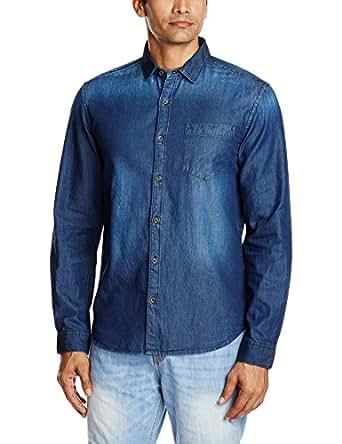Highlander Men's Casual Shirt (13110001459215_HLSH008857_XX-Large_Dark Denim)