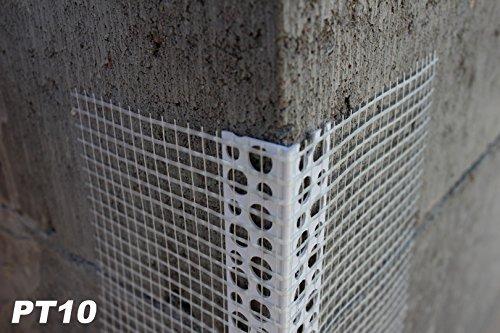 500 Meter Außenputzprofil Eckwinkel aus PVC mit Armierung Gewebe 10x10cm PT10