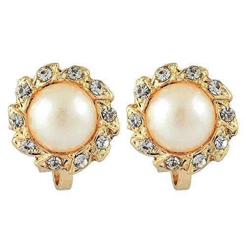 RIVA Sonne Clip on Ohrklemme Ohrringe mit Rundschliff Strass Kristall [Creme Elfenbein Perlen] in 18K Gelbgold Vergoldet, Einfache Moderne Eleganz