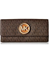 b74a901c3d5207 Michael Kors PVC Leather Fulton Flap Continental Wallet - Brown -  32S7GFTE3B-200