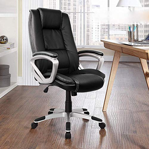KJRJZY Gaming Chair Bürostuhl High Back Computer Stuhl PU-Leder Schreibtischstuhl Executive Swivel Task Chair mit Kopfstütze und Lordosenstütze - Leder Swivel Sessel Stühle