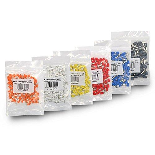 Aderendhülsen isoliert Aderendhülse 600x 100x Orange, 100x Weiss, 100x Gelb, 100x Rot, 100x Blau, 100x Grau 0,5-4 mm² zum crimpen Crimpzange Press Stecker Hülse kfz Draht Elektro Kabelschuhe ARLI