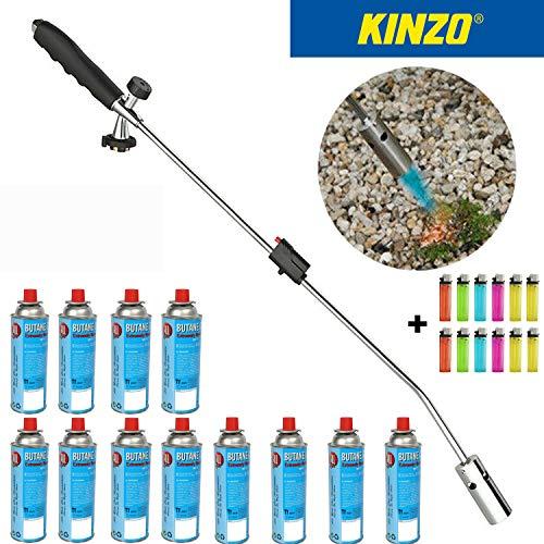 Kinzo | Universal Unkrautvernichter | Unkrautbrenner | Gasbrenner | Piezozündung | Grillanzünder | Abflammgerät für Gaskartuschen | + 12 Buttan Gaskartuschen | + GRATIS 12 Stück Einwegfeuerzeuge