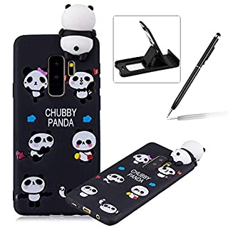 Herzzer Soft TPU Case for Samsung Galaxy S9 Plus,3D Flexible Rubber Case for Samsung Galaxy S9 Plus, Premium Stylish Funny Panda Printed Slim Fit Shockproof Scratch Resist Silicone Bumper Back Cover