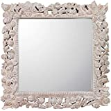 Meher Creation Brown & Silver Color Square Frame Floral Pattern Wooden Hand Carved Wall Mirror/Makeup Mirror/Decorative Wall Mirror (Size :- 30 X 30 X 3 Inches)