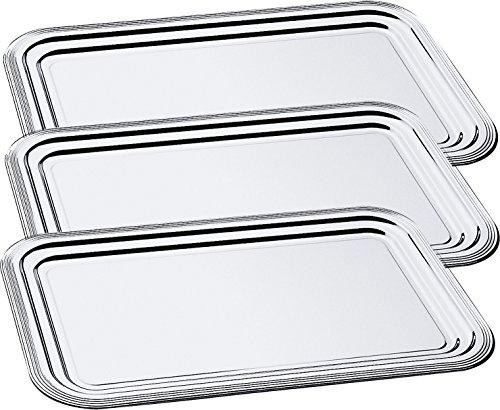 3 x Partyplatte / Servierplatte / Käseplatte / Wurstplatte / Silbertablett, Metall verchromt | 41 x 31 cm