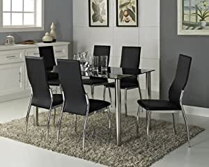 Black Glass Rectangle 6 Seater Dining Table Set with 6 ...