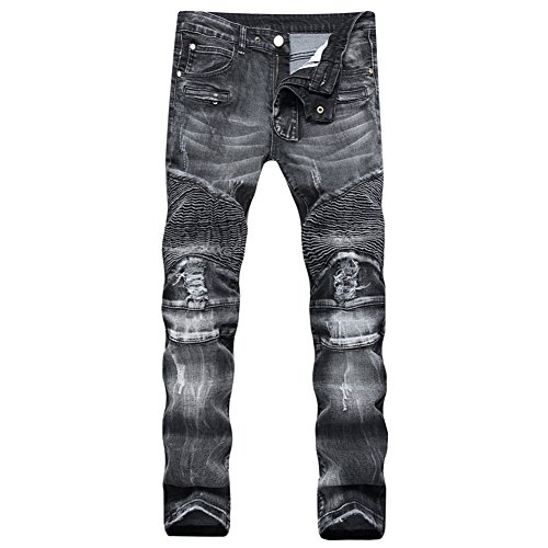 Finrosy Herren Biker Jeans Destroyed Look Slim Fit Hose Zerrissen Verwaschen Denim Jeanshosen (W34/L32, Schwarz)