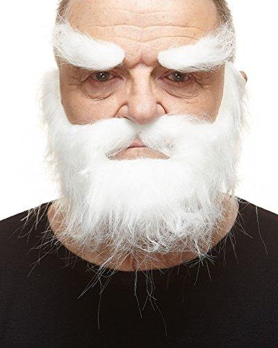 Realistischer weißer Trapper fälschen, selbstklebend Bart, Schnurrbart und - Weiße Augenbrauen Kostüm