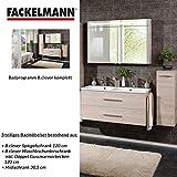 Fackelmann Badmöbel Set B.Clever 3-tlg. 150 cm esche mit Waschtischunterschrank inkl. Doppel Gussmarmorbecken & Midischrank & LED Spiegelschrank