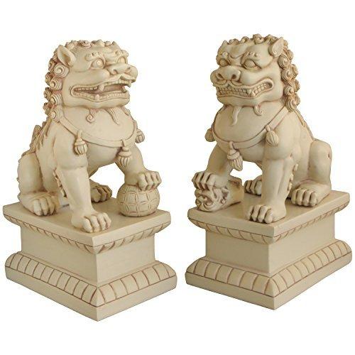 Asiatische Foo Hunde (Fu Hunde-) Garten Statuen, Paar, stone finish - Outdoor-löwen-statuen