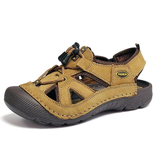 T-gold sandali sportivi da uomo all'aperto trekking escursionismo pu-pelle sandali punta chiusa?eu 38?cachi?