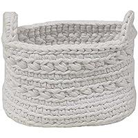 Naco comercio básicos esenciales ganchillo cesta, tamaño pequeño, color blanco