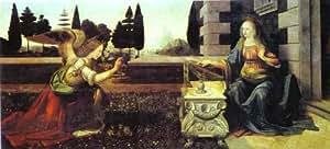 Huile sur toile - 32 x 15 inches / 81 x 38 CM - Leonardo Da Vinci - L Annonciation
