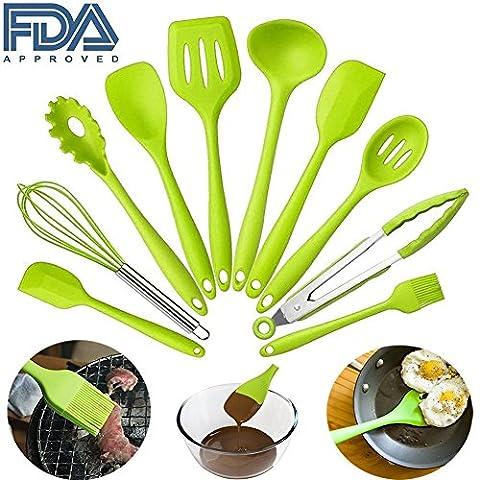 10pcs de cuisine en silicone Utensils-cooking réversible pour outils Ustensiles de cuisson, résistant à la chaleur cuisson antiadhésif non toxique facile à nettoyer Green