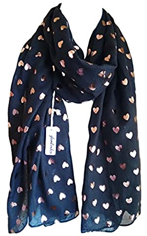 Heart Scarf Glitter Hearts Love Print Fashion Ladies Womens Classy Party Wrap (Black Rose-Gold)
