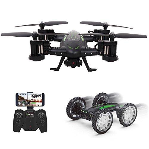 DNYCF Zwei Modi: APP RC Drohne Ferngesteuerte Flugzeuge Auto Buggy mit 2MP HD Kamera App Steuern WIFI FPV Quadrocopter Toy mit 2 Batterien Kopflosmodus Notfallstop und die Alarmbenachrichtigungen