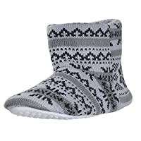 Boys Bootie Slippers Knitted Fair Isle Snowflake Pattern Cosy Fleece Grey 13/1