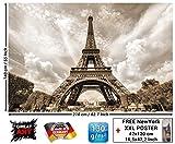 Torre Eiffel Paris papel pintado fotográfico-Deko Romantik XXL-cuadro Póster-Tour Eiffel Paris papel pintado pared decorativo, 210x 140cm