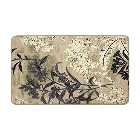 Laura Ashley Cora High Definition Printed Memory Foam 20 in. x 32 in. Accent Rug in Taupe