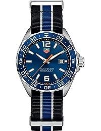 TAG Heuer Formula 1caso con Negro y azul de acero inoxidable reloj de la correa de la OTAN Hombres waz1010. fc8197