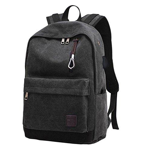 Imagen de hosaire  para chico carga usb port 15.6' portátil  bolso escolar colegio  bolso, para hombre mujer estudiante negro