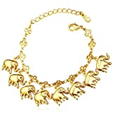 MESE London Pulsera Amuleto Elefantes Joyería Manos Bañada En Oro 18K - Elegante Caja De Regalo
