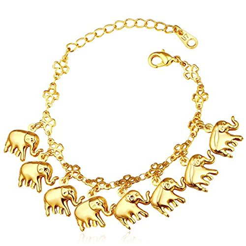 MESE London Elefante Encantos Pulsera Afortunada Chapado en Oro 18ct 'The Pure...