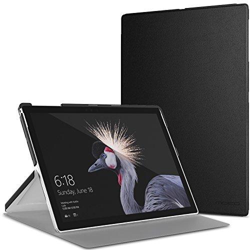 MoKo Microsoft Pro 4 / Surface Pro 2017/Pro LTE/Pro 6 Hülle - Ultra Slim PU Leder Tasche Schutzhülle Lederhülle Smart Cover mit Standfunktion, Schwarz