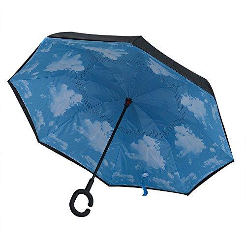 HCFKJ Umbrella, Moderner umgedrehter Umkehrregenschirm C-Griff Double Layer Inside-Out Colors (Weiß)